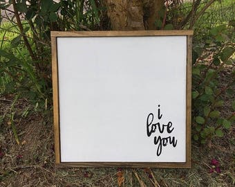I love you | 13 x 13 | hand painted | wood sign