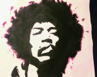 "Handpainted Jimi Hendrix ""Purple Haze"" Back Patch"