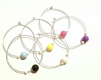 Set of 6 wine glass charms