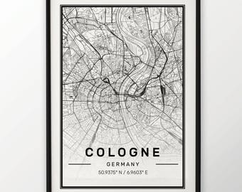 Cologne City Map Print, Modern Contemporary poster in sizes 50x70 fit for Ikea frame 19.5 x 27.5 All city available London, New York Paris