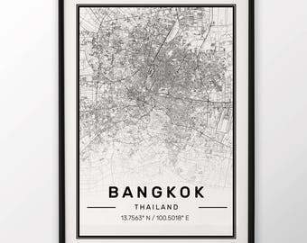 Bangkok City Map Print Modern Contemporary poster in sizes 50x70 fit for Ikea frame 19.5 x 27.5 All city available London, New York Paris