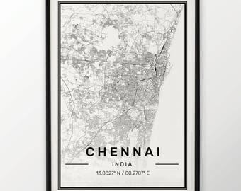Chennai City Map Print Modern Contemporary poster in sizes 50x70 fit for Ikea frame 19.5 x 27.5 All city available London, New York Paris