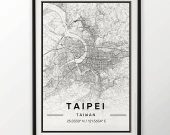 Taipei City Map Print Modern Contemporary poster in sizes 50x70 fit for Ikea frame 19.5 x 27.5 All city available London New York Paris