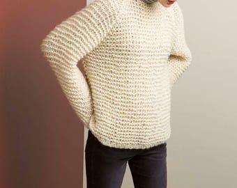Knit Sweater reglan, alpaca silk, hand knit, made to order