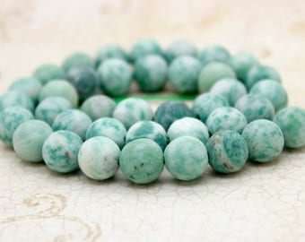 New Mountain Jade Matte Green Round Sphere Ball Natural Gemstone Beads (6mm 8mm 10mm)