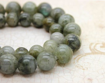 "Labradorite Smooth Round Gemstone 8mm 10mm Beads (8"" strand - 2.5 mm hole)"