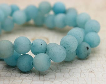 Dye Agate (Light Blue) Matte Round Gemstone Beads