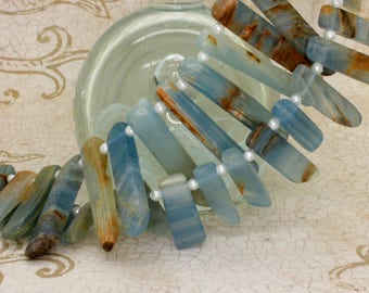 Natural Blue Calcite Flat Nugget Teeth Gemstone Beads