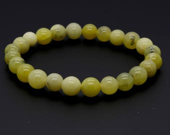 "Butter Jade Beads Size 8mm. Length 8"" Semi-Precious Gemstone Elastic Cord Bracelet Accessories"