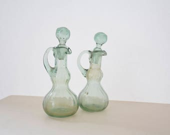 Set of two handblown glass carafes, decorative carafes, vintage carafes for oil and vinegar, Italian glassware
