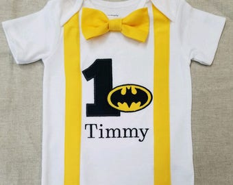 Batman First Birthday Bodysuit with Suspenders and Bow Tie