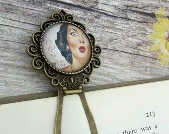 Pin up gift, Retro bookmark, Gift for readers, Pin up girl bookmark, Cute bookmark, Metal bookmarks, Christmas stocking, Bachelorette favor
