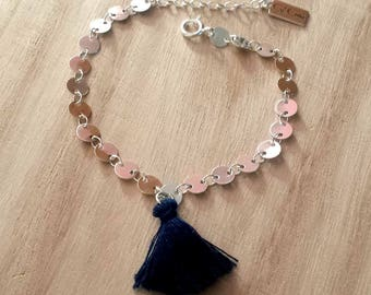 Navy sequin silver plated brass and tassel bracelet
