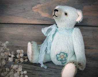 Teddy Bear, OOAK, mint, animal, collectible handmade jointed stuffed toy