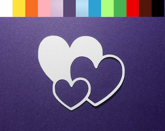 "12 Tripple Heart Die Cuts - 3"" x 2 1/2"" - Color choice - Cardstock Paper Hearts - Hearts - Embellishments - Scrapbooking - Card Making"