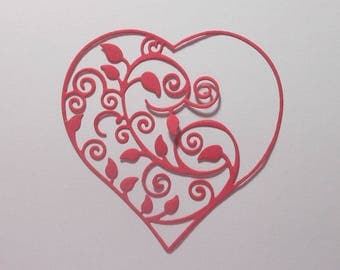 "Red Intricate Flourish Heart Die Cuts - 3 1/8"" X 3 1/8"" Red Cardstock Paper Hearts Embellishments, Scrapbooking, Card Making 4 pc"
