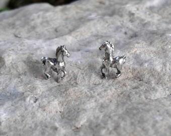 Horse Earrings, Solid Sterling Silver Horse Stud Earrings, Horse Jewelry