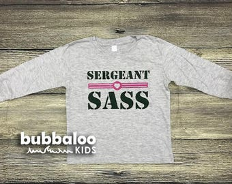 "Gray Toddler Tee: ""Sergeant Sass"" (Long-Sleeve)"