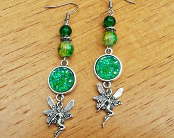 earrings fairy stone druzy green faux iridescent bronze absinthe fantasy forest fairies magical witchy wicca celtic pagan mythical creature