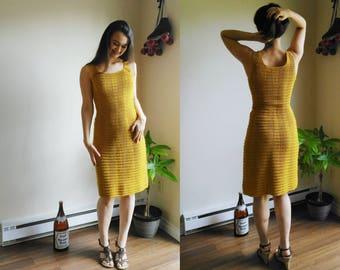 Crochet Dress / Sexy Crochet Dress / Bright Yellow Dress / Knitted Dress / 1960s dress / 60s summer dress / vintage wool dress