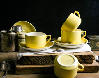 Yellow Vintage Tea Cups and Saucers Set of Four