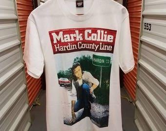 "RARE Vintage 90's Mark Collie ""Hardin County Line"" Album T-Shirt By Screen Stars Best. Men's Size Large."
