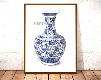 Blue and white china porcelain vase print, print of hand painted watercolor painting