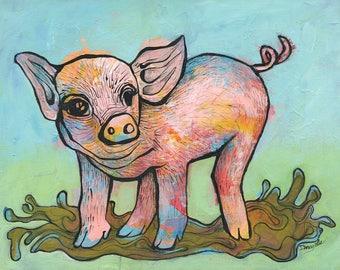 Pig art, fine art print, colorful farm animal art, piglet art, farm nursery decor, art for kids, baby gift, baby pig, pig art print
