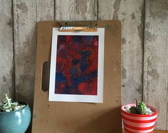 Print of original Art A4, water colour galaxy  in red  blue  purple black and  gold specks watercolour water colour water color watercolor