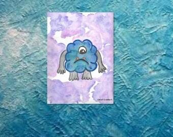 Instant download, original watercolor, Blue Monster illustration