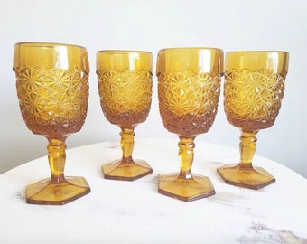 Set of Four Amber Daisy and Button Goblets