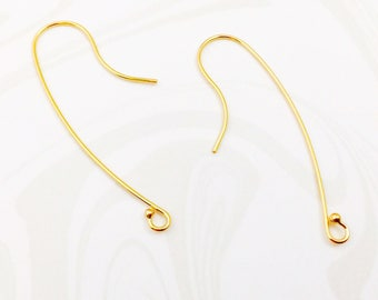 14k Gold Filled Ear Wires, Long Ear Wires, Yellow Gold Earrings, 15mm x 40mm, EWRS009