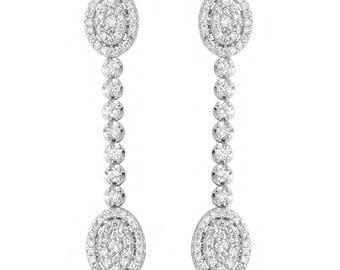Dangling Earrings, Gold Earrings, 14K Earrings, 14K Gold Earrings, White gold Dangling Earrings, Drop Earrings, Earrings,