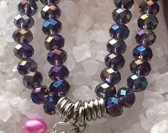 Multi-color double strand Bead with Crystal Ball Charm and Designer Hot Pink Freshwater cultured Pearl