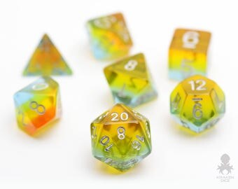 Fairy Glass Dice Set, D&D, Dice Set, Dungeons and Dragons, Rainbow RPG Dice, Geek, Geeky, DND, geekery - Fairy Glass (KD0039)