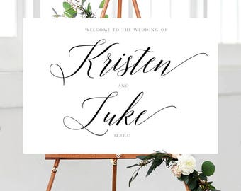 Custom Wedding Sign | Rustic Wedding - Wedding Welcome Sign | Calligraphy Wedding Sign | Wedding Decorations | Engagement Sign