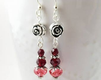 Silver rose and crystal Valentine earrings - red and watermelon