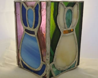 Stained Glass Candleholder - Cats