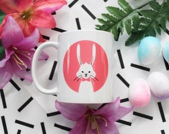 Bunny Mug, Easter Mug, Pink Rabbit Mug 11 oz White Ceramic Mug