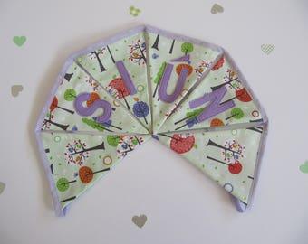 Green Whimsical Woodland Fabric Bunting Handmade Personalised Nursery Decor Childrens Decor