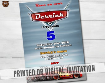 Cars Printed Invitation, Cars Birthday Party Invitation, Cars Party, Cars Birthday, Cars Digital, Lightning Mcqueen HBS 038