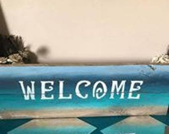 Welcome beach sign, in either wood or canvas.