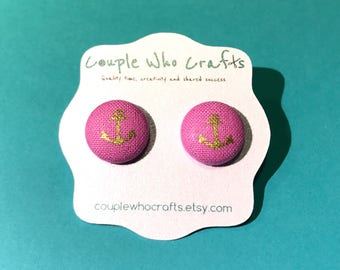 Pink and Gold Anchor Fabric Covered Button Earrings Stud Earrings Fabric Jewelry Fabric Button Earrings Button Studs Posts Stud Earring