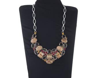 Raw Stone Necklace/ Choker Boho Necklace/ Jasper Bib Necklace/ Multi Stone Necklace/ Gemstone Necklace/ Women Jewellery/ Silver Necklace