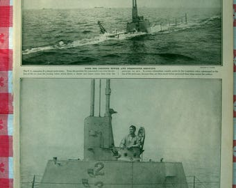 1920–Submarine Terror- from Leslie's Photographic Review of The Great War (WW I), Vintage, Rare Account of World War I