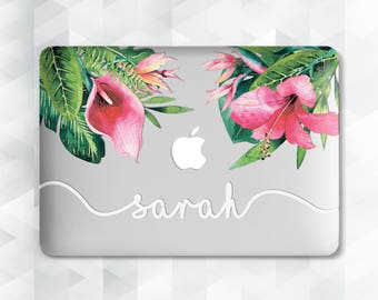 Macbook Floral Case Macbook Hard Case Macbook Pro Case Monogram Custom Laptop Case Laptop Decal Macbook Skin Clear Floral Case Clear Case