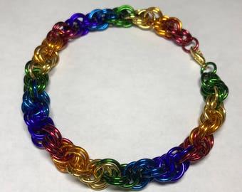 Pride rainbow spiral weave bracelet