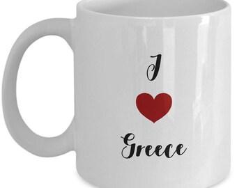 I love  Greece, Greece mug, I heart Greece, souvenir from Greece,, ceramic coffee mug
