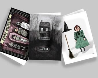Halloween greetings cards, art cards