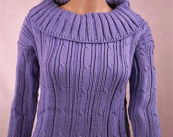 Wool Sweater hand knitted, women, size 38, made in France, acrylic, handmade, lilac, sweater knit sweater - 0045